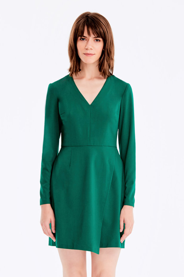 Wrap V-neck MustHave green dress photo 1 - MustHave online store