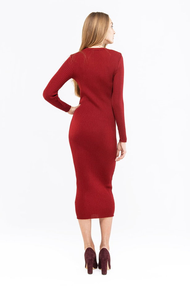 Wine knit sheath midi dress photo 4 - MustHave online store