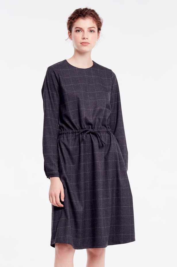 Below-knee grey dress photo 1 - MustHave online store