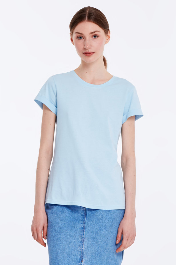 Blue T-shirt with cuffs photo 1 - MustHave online store