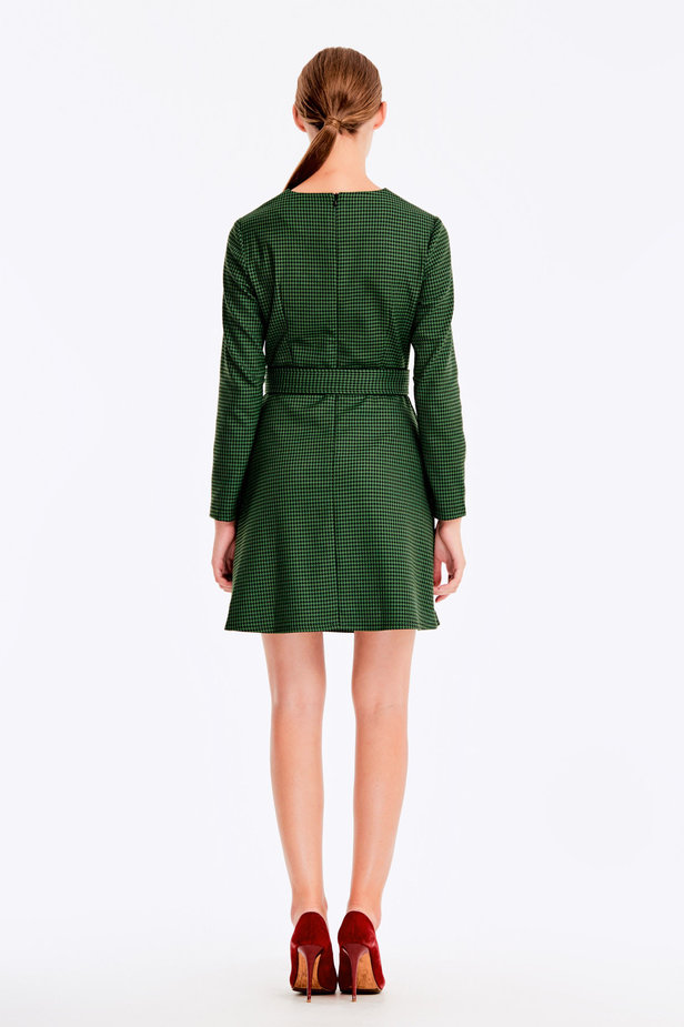 Green dress with a houndstooth print photo 6 - MustHave online store