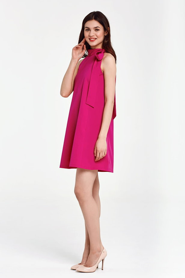 Fuschia swing dress with a bow photo 2 - MustHave online store