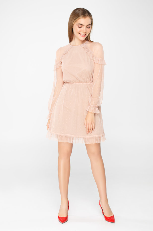 Pale pink tulle dress above the knee with ruffles photo 4 - MustHave online store