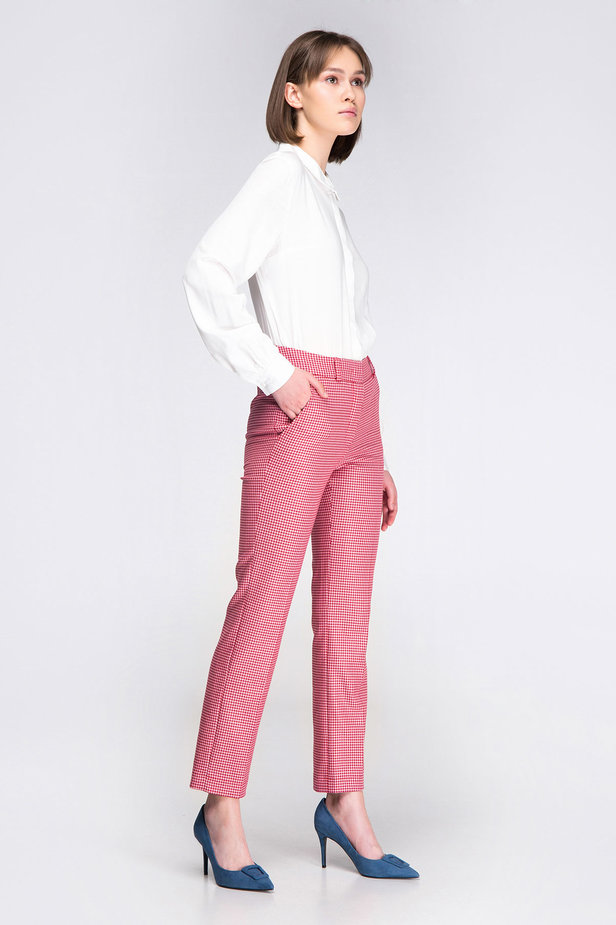 Pink-red houndstooth pants photo 3 - MustHave online store