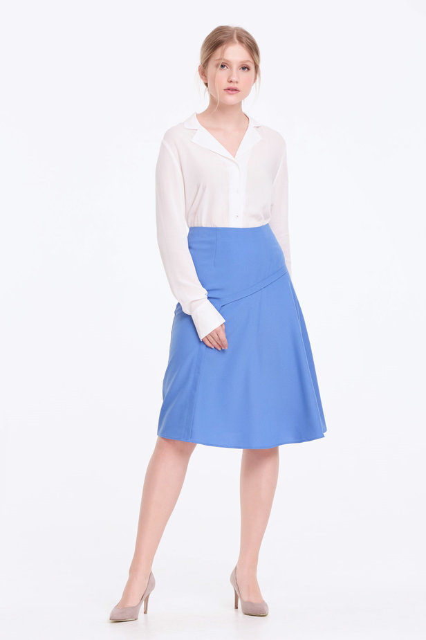 Blue skirt with pleats photo 6 - MustHave online store