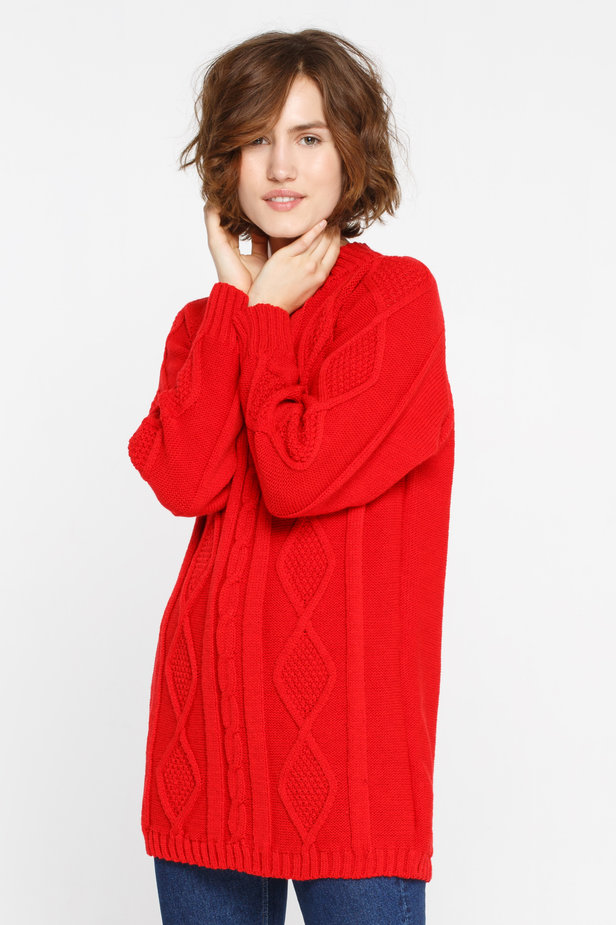 Long red sweater with braids photo 1 - MustHave online store