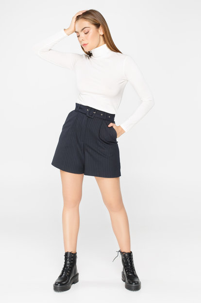 Navy blue pinstripe belted shorts
