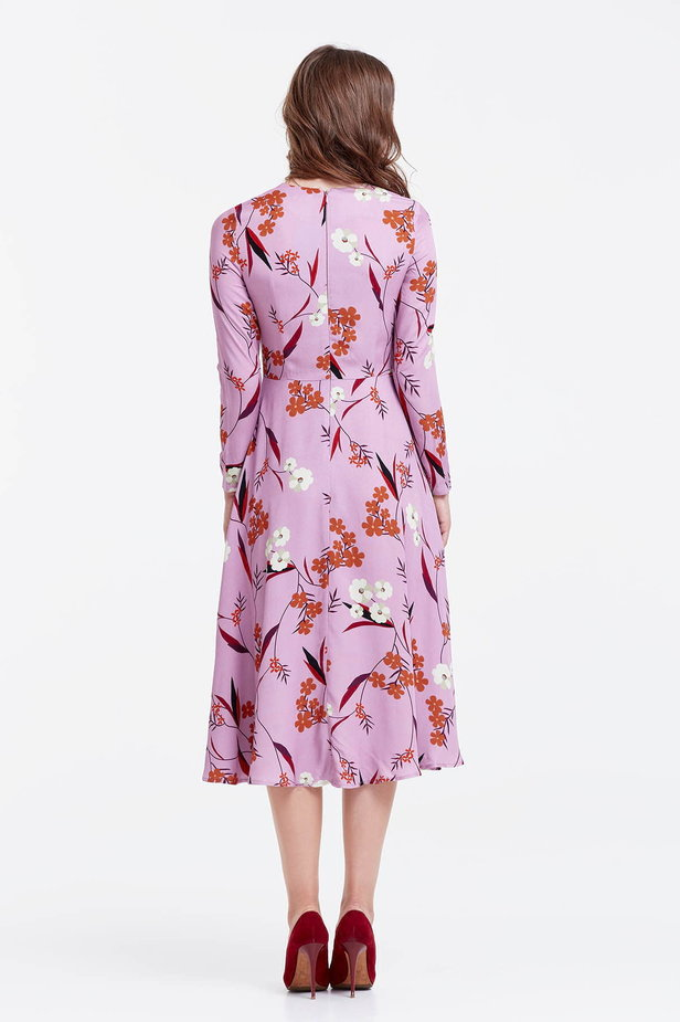 Midi lilac dress with a floral print photo 3 - MustHave online store