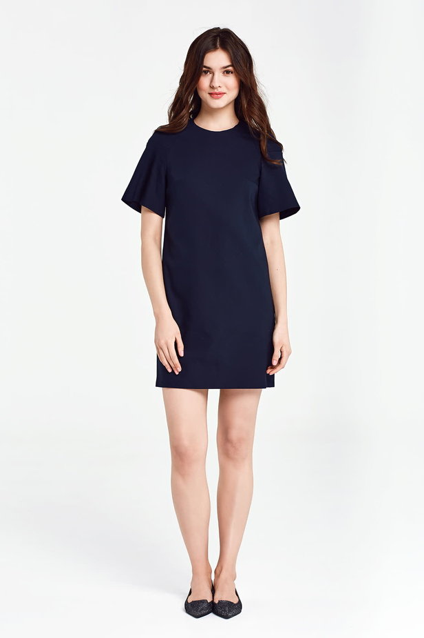 Dark blue dress with flared sleeves above the knee photo 2 - MustHave online store