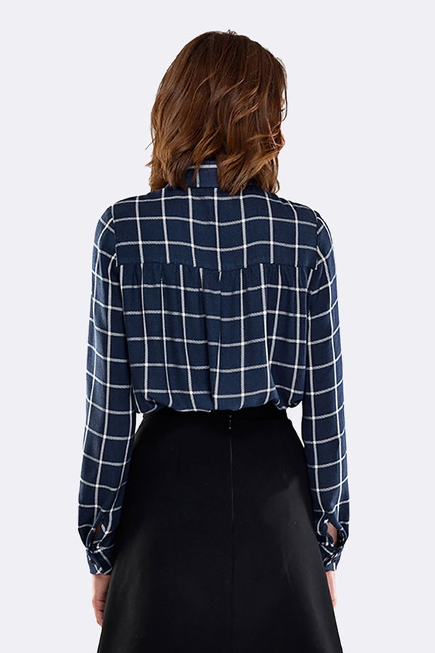 Checked shirt with pleats on the chest photo 3 - MustHave online store