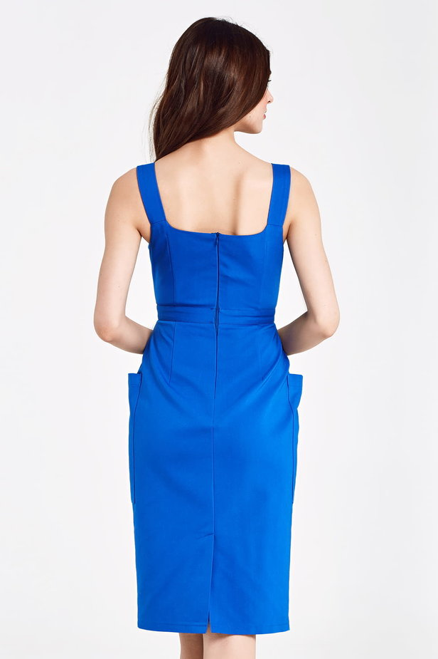Dress blue with patch pockets photo 3 - MustHave online store