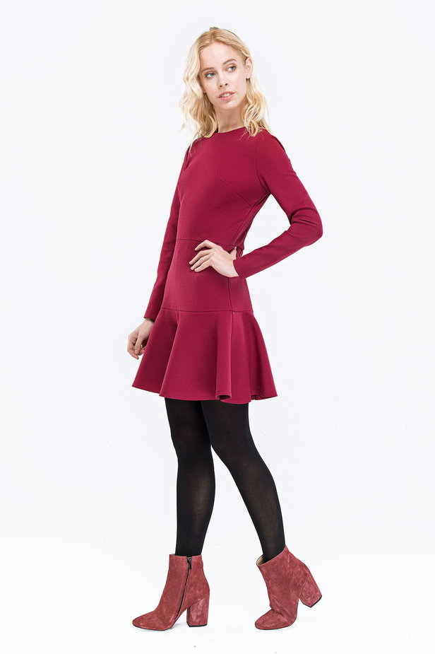 Wine-colored dress with a trumpet skirt photo 2 - MustHave online store