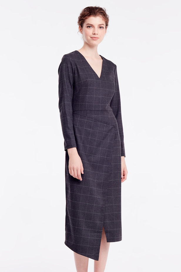 Wrap grey checkered midi dress photo 1 - MustHave online store