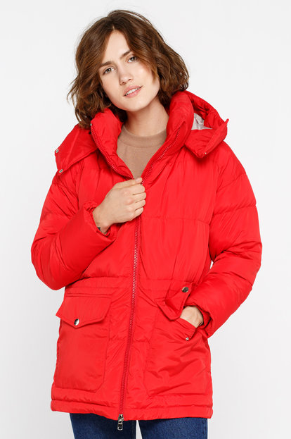 Red down jacket with a hood and pockets