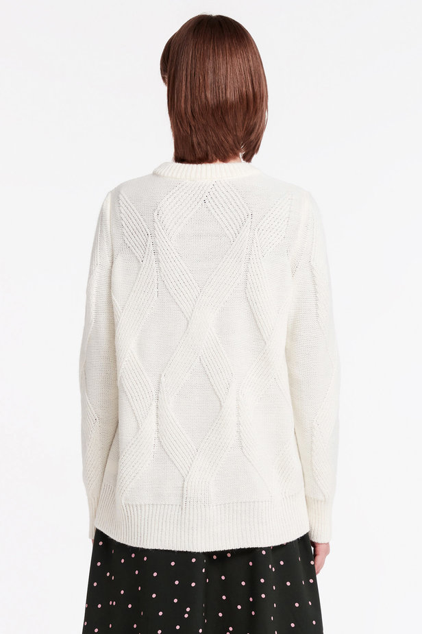 White free knit sweater photo 4 - MustHave online store