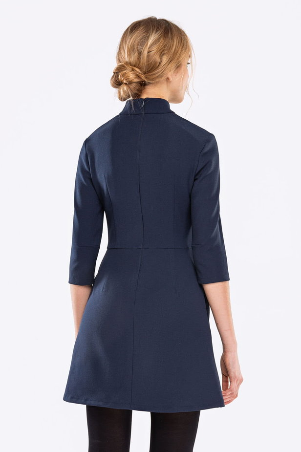 Blue A-line dress with a stand up collar photo 3 - MustHave online store