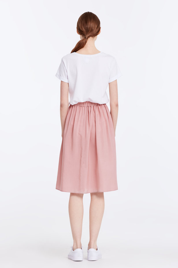 Below the knee powder pink skirt with an elastic waistband photo 6 - MustHave online store