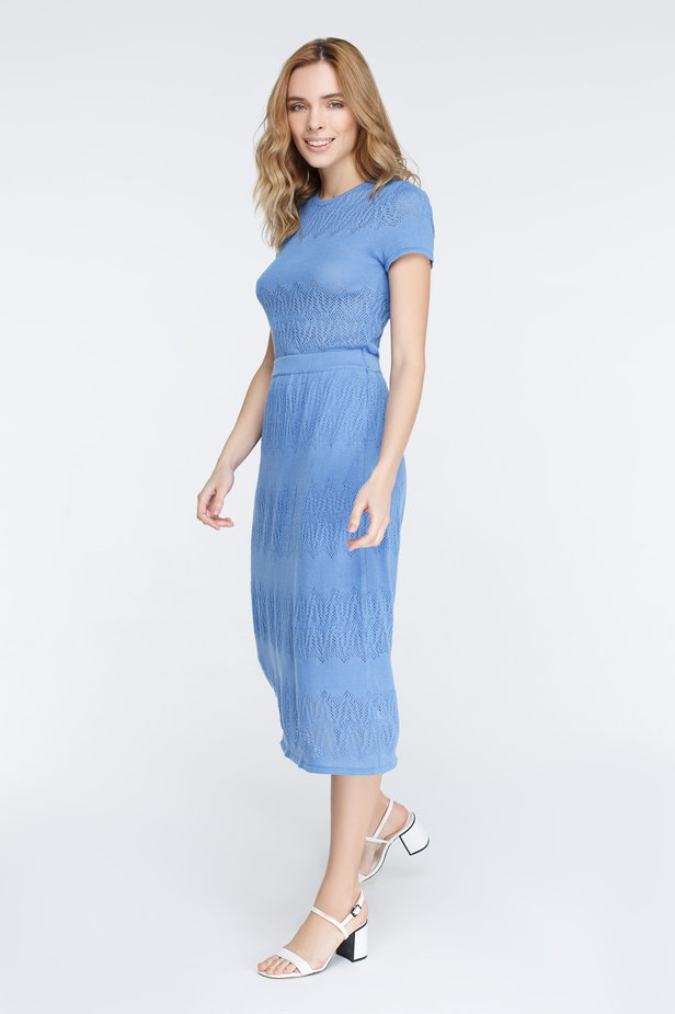 Blue knitted dress photo 5 - MustHave online store