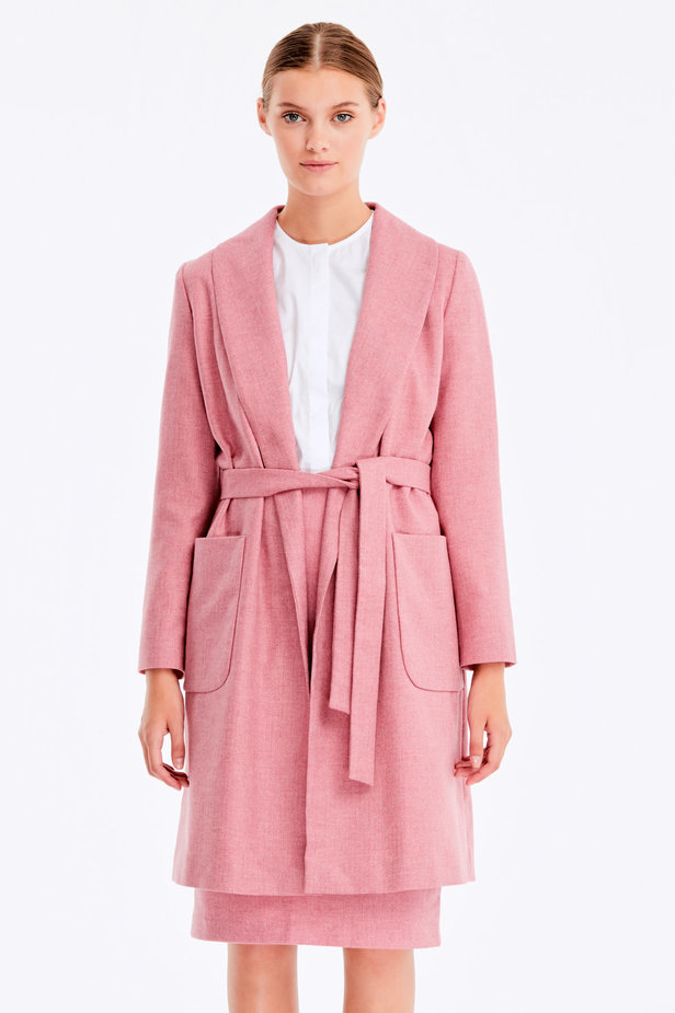 Long pink jacket with herringbone print photo 1 - MustHave online store