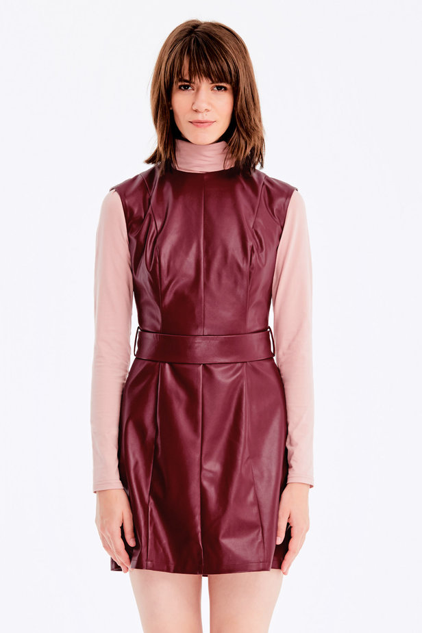 Below-knee burgundy leather dress photo 1 - MustHave online store