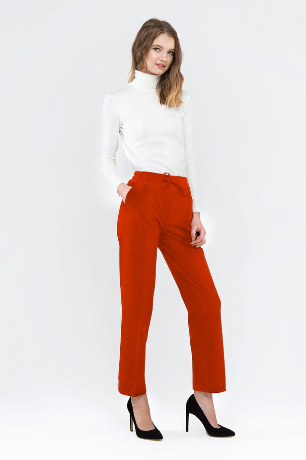 Red pants with an elastic waistband photo 5 - MustHave online store