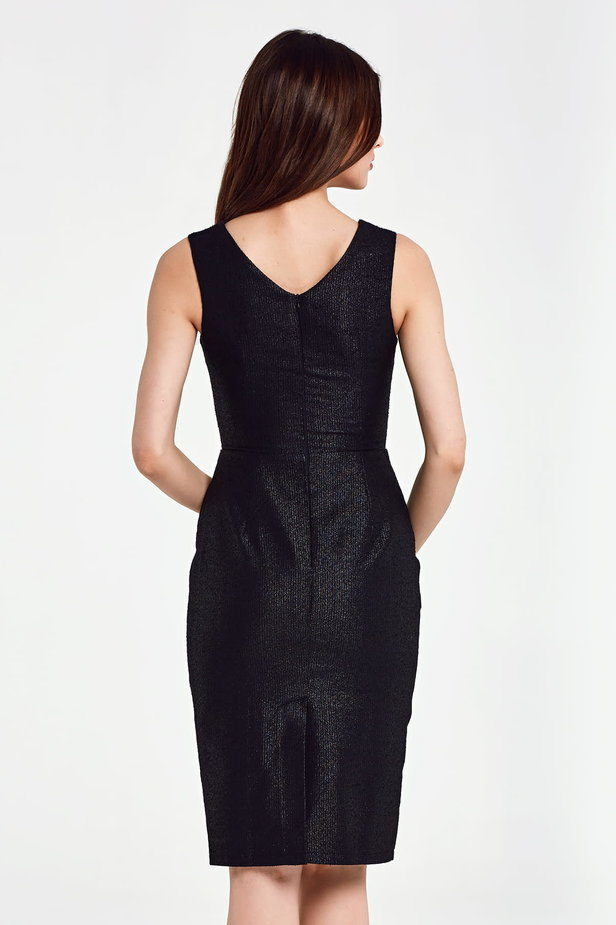 Black dress with lurex above the knee photo 5 - MustHave online store