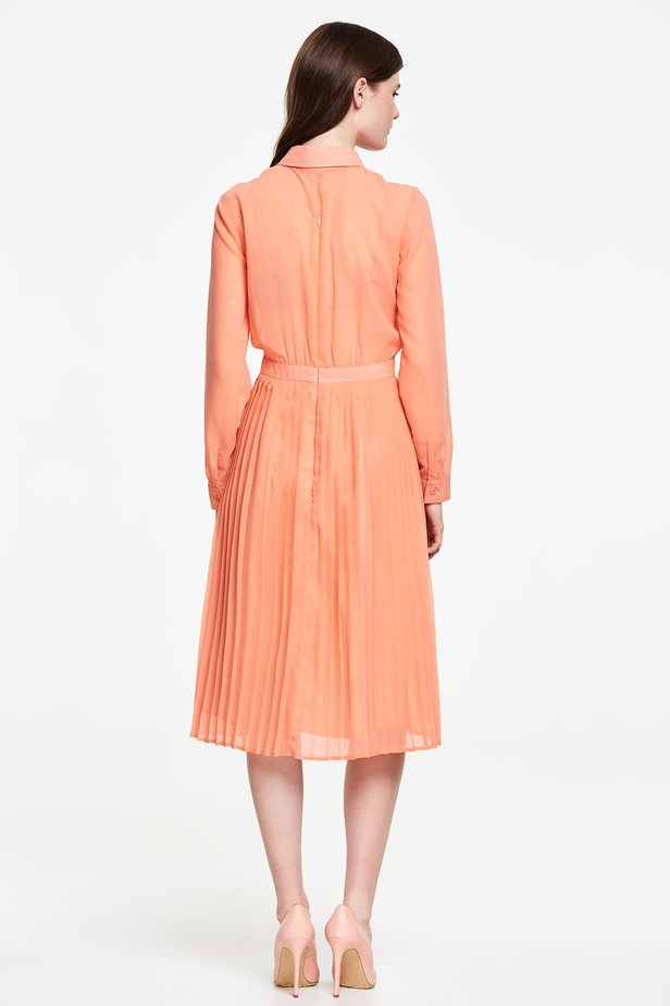 Below the knee orange shirt dress, pleated dress photo 3 - MustHave online store
