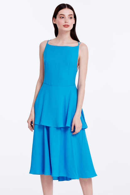 Midi blue dress with criss-cross straps at the back