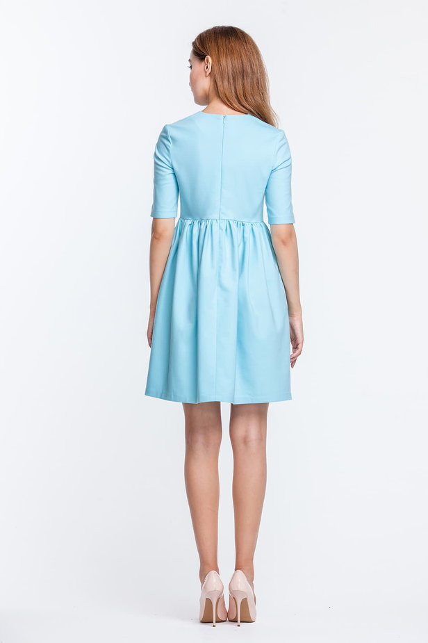 Mini blue dress with a peg-top skirt photo 5 - MustHave online store