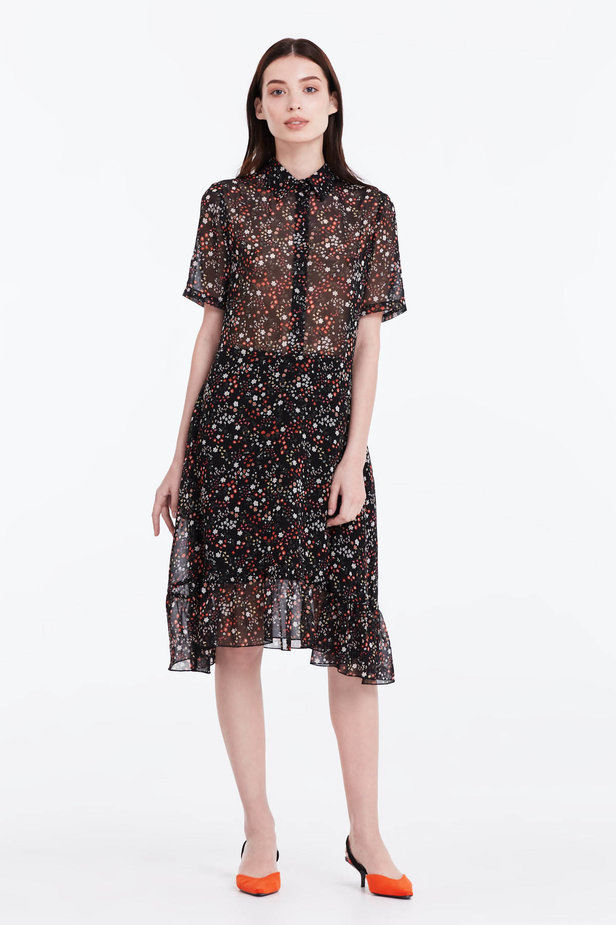 Black dress with a floral print, a shirt top and a flounce photo 2 - MustHave online store
