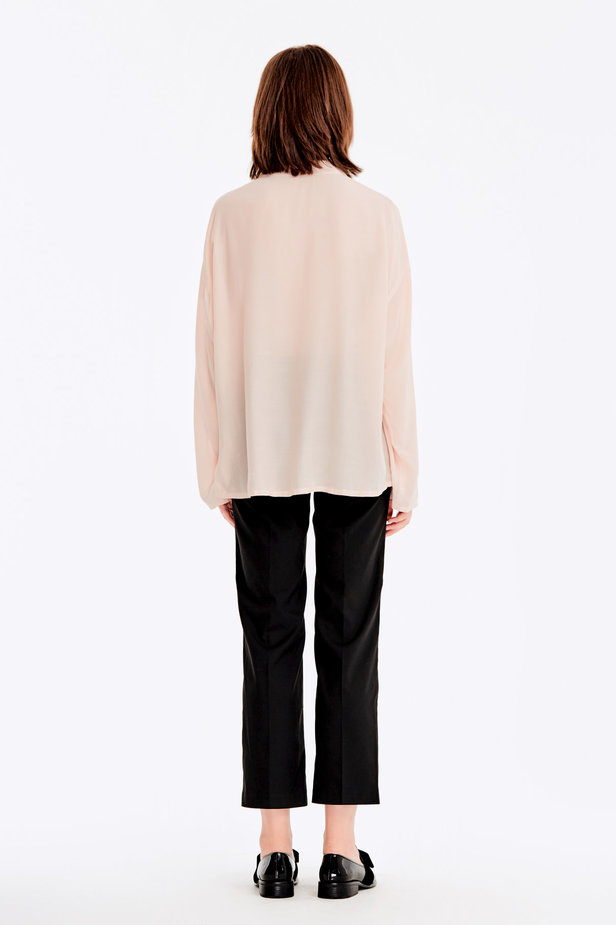 Beige blouse with ties photo 6 - MustHave online store