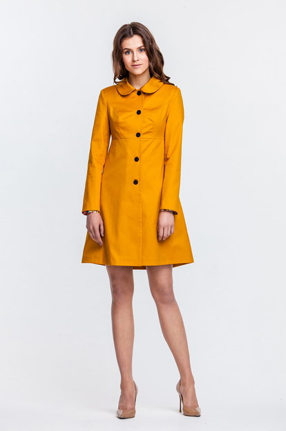 A-line mustard trenchcoat