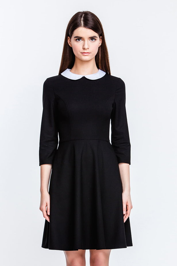 Above the knee black dress with a white collar photo 1 - MustHave online store