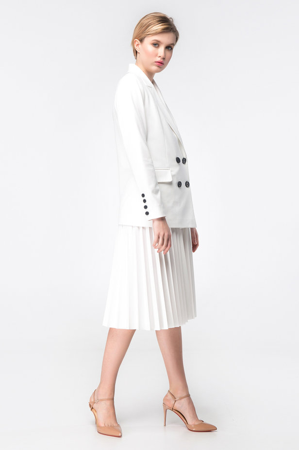 White double-breasted jacket photo 3 - MustHave online store
