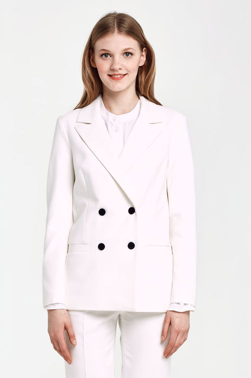 Double-breasted white jacket with pockets and black buttons