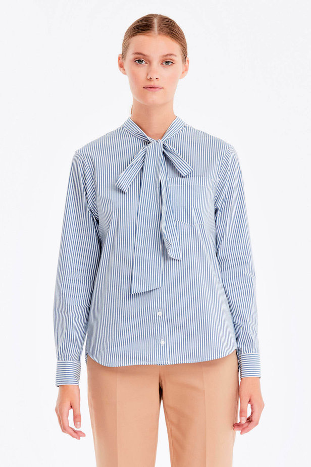 Striped shirt with a bow photo 1 - MustHave online store