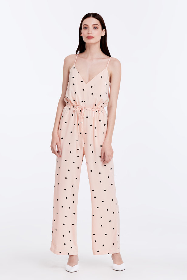 Beige jumpsuit with a black polka dot print photo 1 - MustHave online store