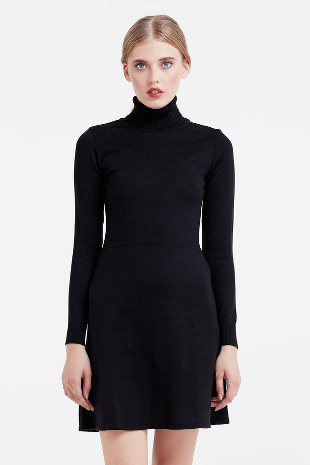 Black knitted dress photo 1 - MustHave online store