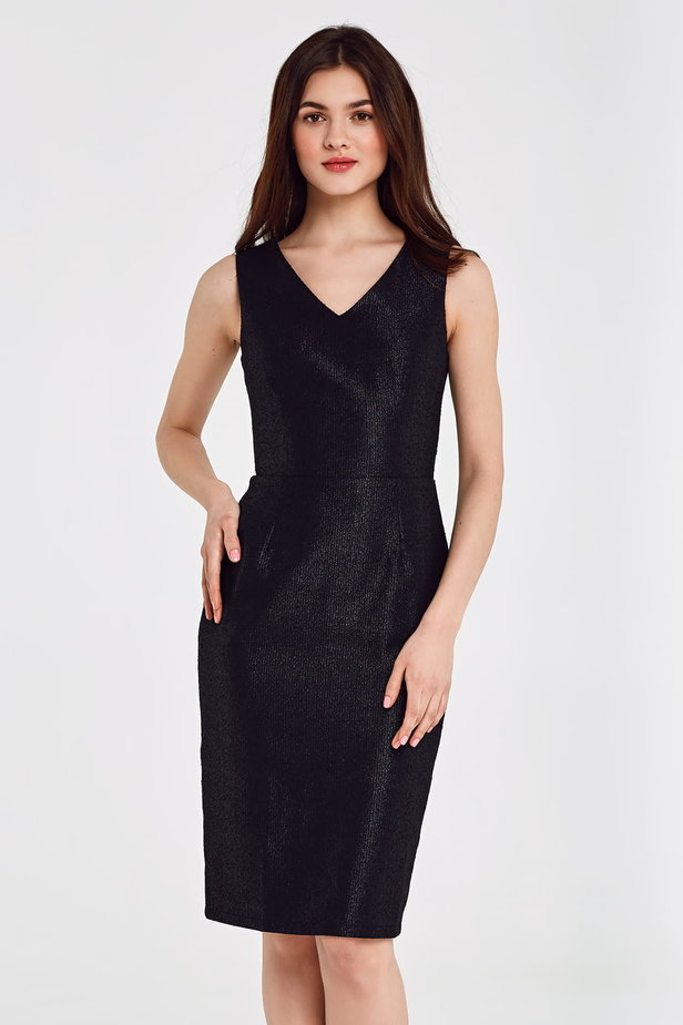 Black dress with lurex above the knee photo 1 - MustHave online store