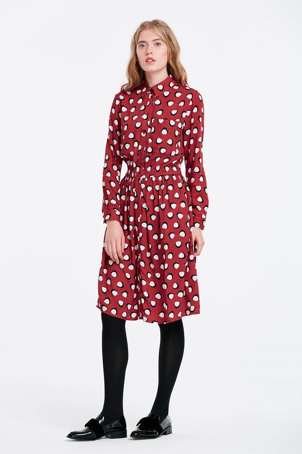 Red shirt dress, penguins print photo 4 - MustHave online store