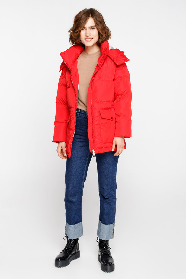 Red down jacket with a hood and pockets photo 2 - MustHave online store