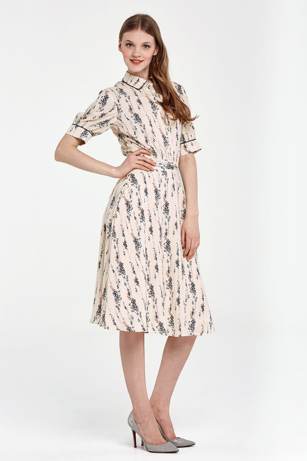 Midi beige shirt dress, floral print photo 2 - MustHave online store