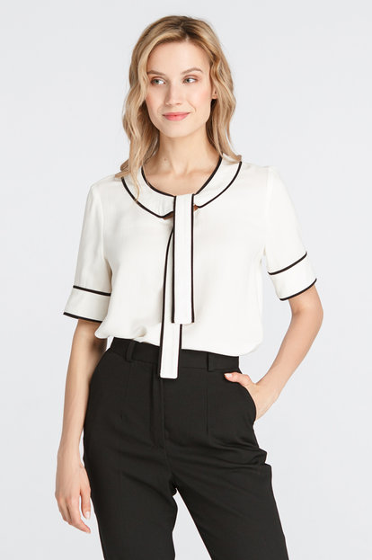White blouse with a neck ties