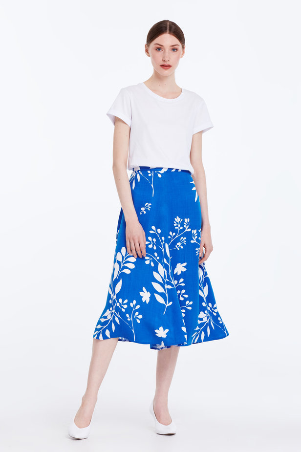 Midi blue skirt with white leaves photo 3 - MustHave online store