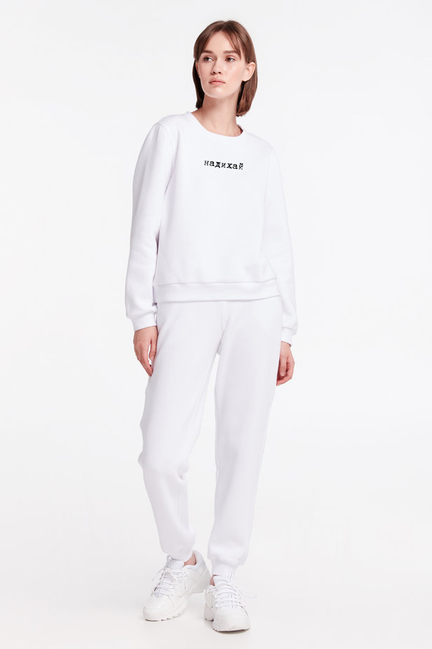 White sweatshirt with print and cuffs photo 2 - MustHave online store