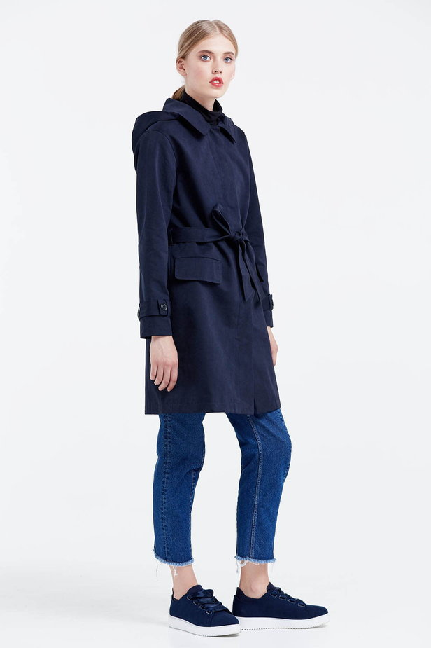Dark blue trenchcoat with a hood photo 5 - MustHave online store