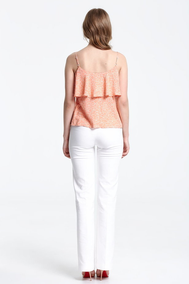 Peach-colored top with a flounce and white flowers photo 3 - MustHave online store