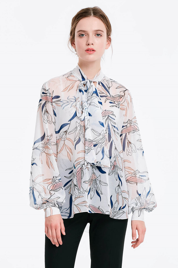 White blouse with a bow, birds print photo 1 - MustHave online store