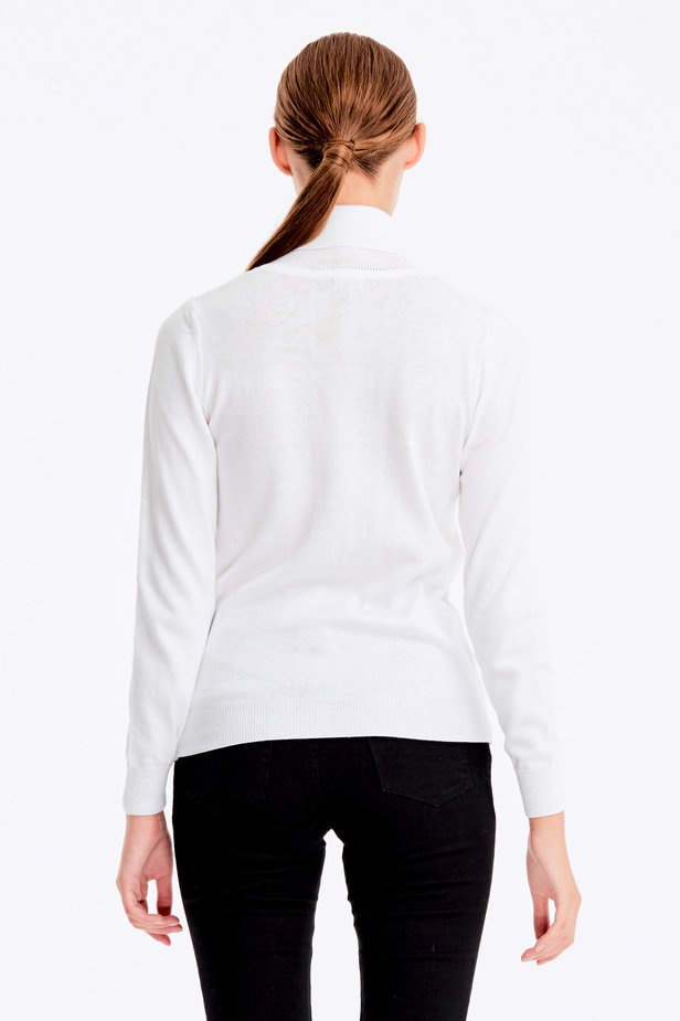 White polo neck with cotton photo 4 - MustHave online store