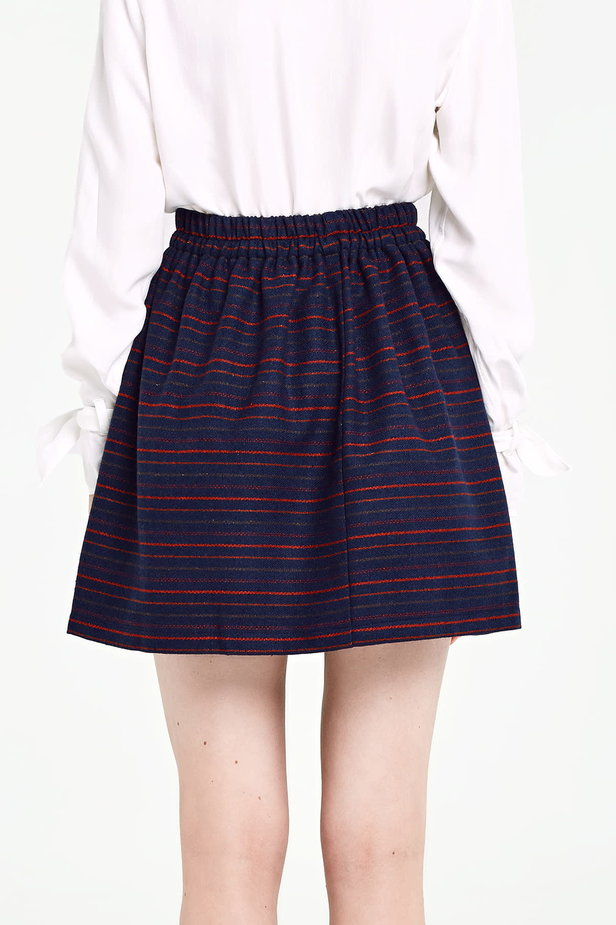 Dark blue skirt with an elastic waistband and red stripes photo 3 - MustHave online store